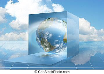 calcolare, nuvola, mondo, dropbox