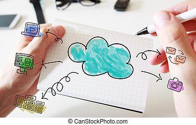 calcolare, nuvola, quaderno, concetto, bianco