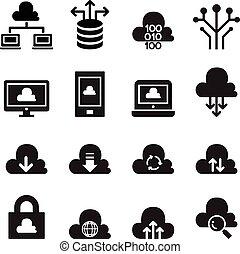 calcolare, nuvola, set, icona, concetto