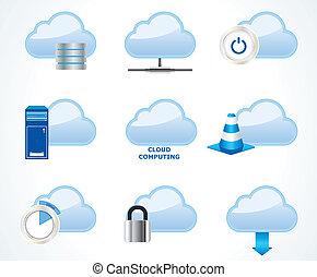 calcolare, nuvola, set, icona, vettore