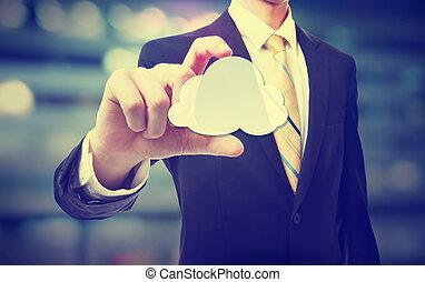 calcolare, nuvola, uomo affari, concetto
