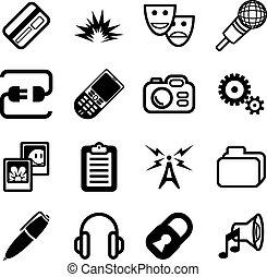calcolare, rete, icona, serie