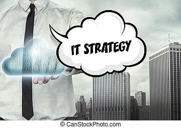 calcolare, testo, esso, strategia, tema, uomo affari, nuvola