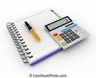 calcolatore, blocco note, penna, ufficio