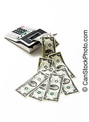 calcolatore, dollaro, due, americano, effetti, essere sorteggiato