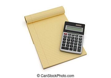 calcolatore, foderare, blocco note, giallo