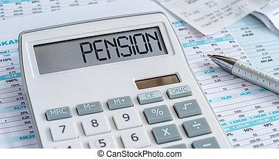 calcolatore, parola, pensione, mostra