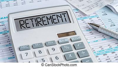 calcolatore, pensionamento, parola, mostra
