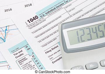 calcolatore, sopra, ci, 1040 forma tassa