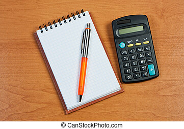 calcolatore, tavola., blocco note, penna