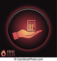 calcolatore, tenendo mano