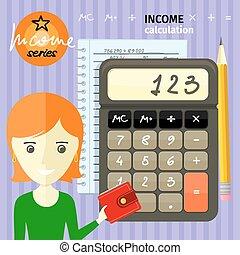 calcolo, concetto, reddito