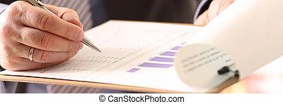 calculador, firma, financiero, documento, auditor