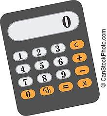 calculadora, ícone, apartamento, caricatura, style., isolado, branco, experiência., vetorial, illustration.