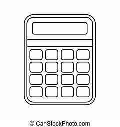 calculadora, ícone, esboço, estilo