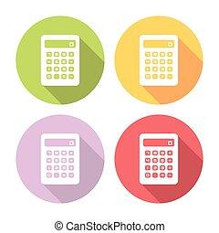 calculadora, apartamento, ícones, jogo