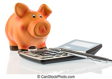 calculadora, banco, cerdito, lápiz, rojo