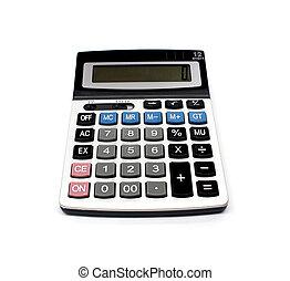 calculadora, branca, isolado, fundo