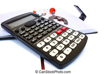 calculadora, caderno