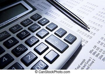calculadora, caneta