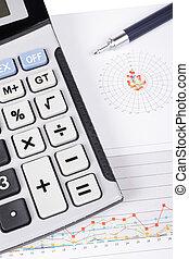 calculadora caneta, ligado, salário, mapa