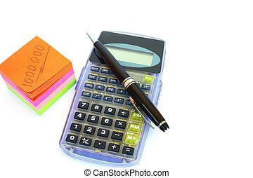 calculadora, caneta, papel
