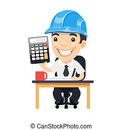 calculadora, carácter, caricatura, ingeniero