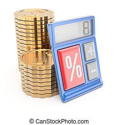 calculadora, coins, pila