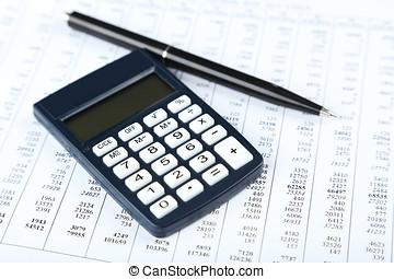 calculadora, com, caneta