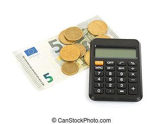 calculadora, com, dinheiro