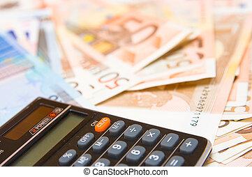 calculadora, com, dinheiro, fundo