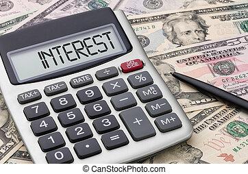 calculadora, com, dinheiro, -, interesse
