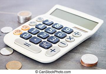 calculadora, com, dinheiro, ligado, cinzento, fundo