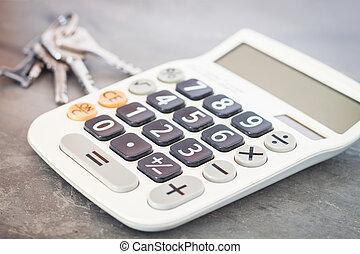 calculadora, com, teclas, ligado, cinzento, fundo