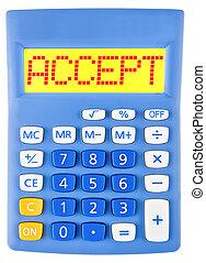 calculadora, con, aceptar, en la exhibición