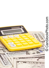 calculadora, con, dólares, aislado, blanco