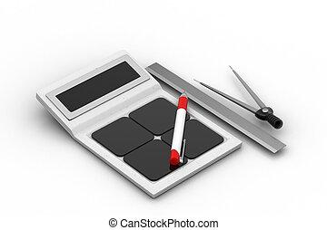 calculadora, con, ingeniería, herramientas