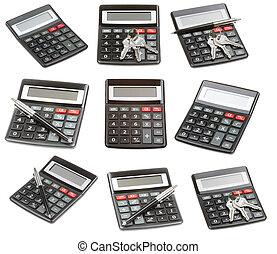 calculadora, conjunto, aislado