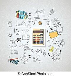 calculadora, contabilista, negócio, doodle, mão, desenhar,...