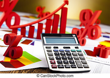 calculadora, diagrama, escritório