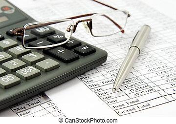 calculadora, e, óculos, relatório financeiro