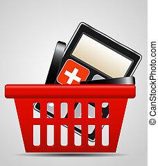 calculadora, e, cesta shopping, vetorial, ilustração