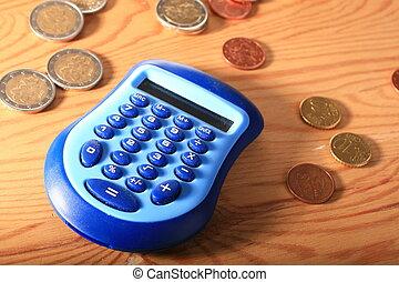 calculadora, e, dinheiro.