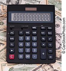 calculadora, e, dinheiro
