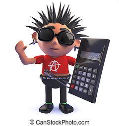 calculadora, eje de balancín del punk, tenencia, carácter, caricatura, digital, 3d