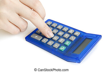 calculadora, em, mãos, isolado