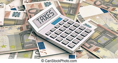 calculadora, en, euros, fondo., palabra, impuestos, en, display., 3d, ilustración