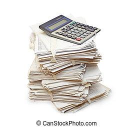 calculadora, funcionario, paquete, papeles