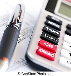 calculadora, imposto, caneta