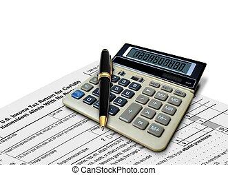 calculadora, imposto, caneta, forma